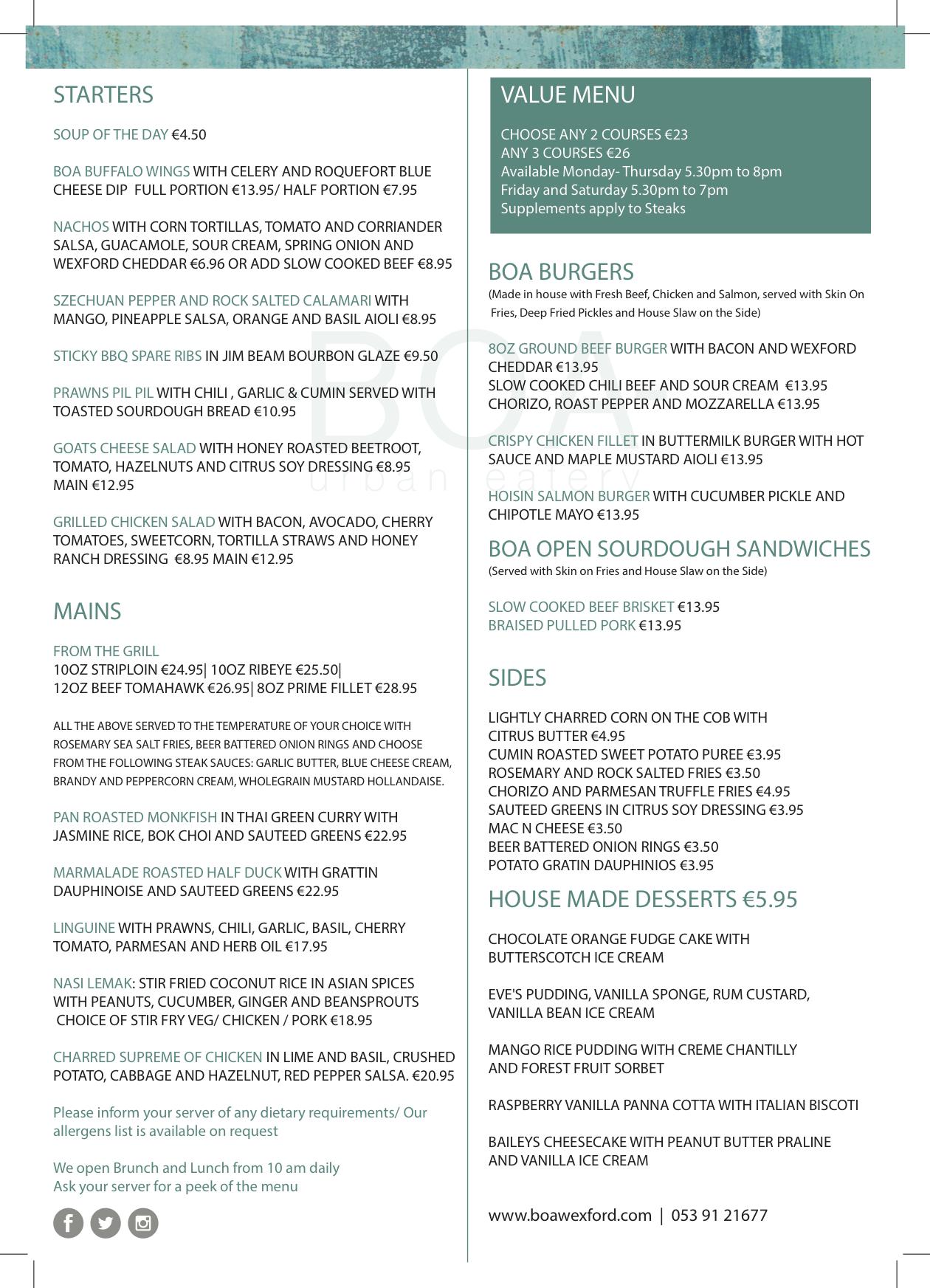 Dinner menu print red