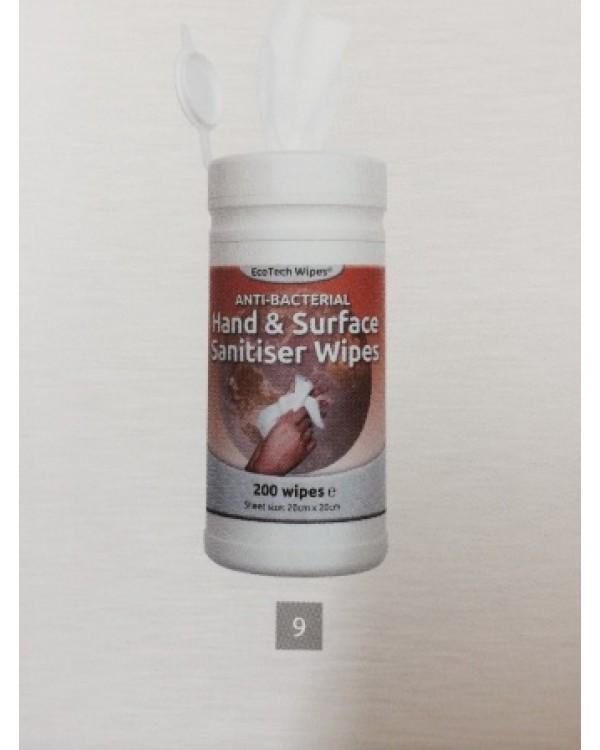 Hand surface sanitiser wipes