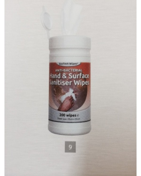 Hand surface sanitiser wipes