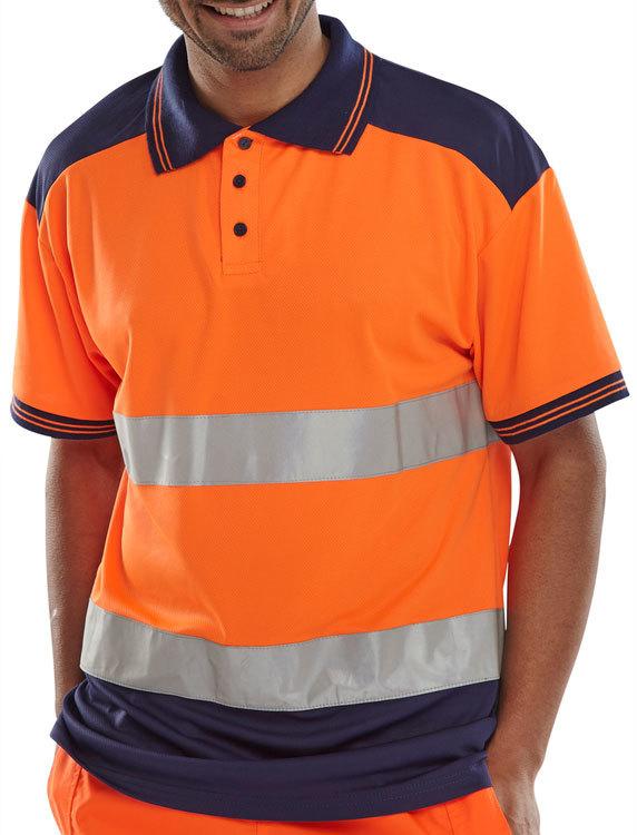 Hi vis polo shirt orange navy